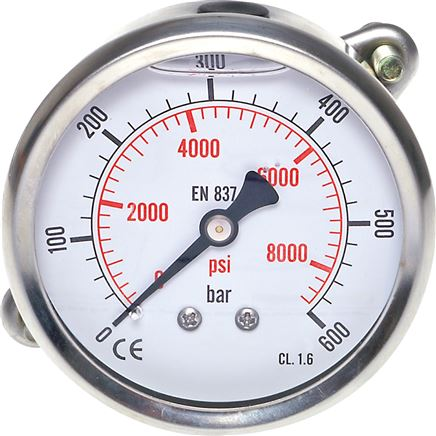 Glycerine-inbouwmanometer Ø 63 mm chroomnikkelstaal / messing, Eco-Line