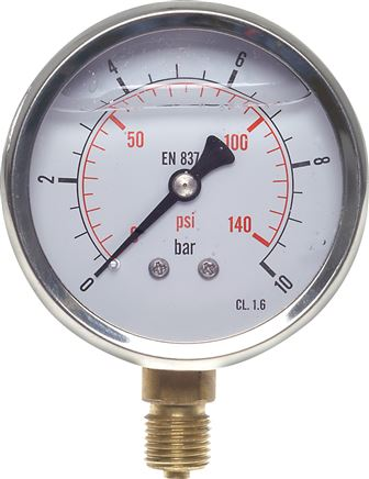 Glycerinemanometer verticaal Ø 63 mm chroomnikkelstaal / messing, Eco-Line