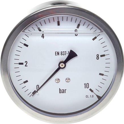 Glycerinemanometer horizontaal Ø 100 mm chroomnikkelstaal / messing, Eco-Line