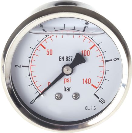 Glycerinemanometer horizontaal Ø 63 mm chroomnikkelstaal / messing, Eco-Line